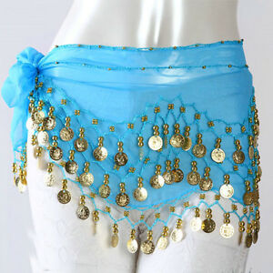 6Color Best Match 3Rows Coin Belly Dance Costume Hip Scarf Skirt Belt Wrap Cool