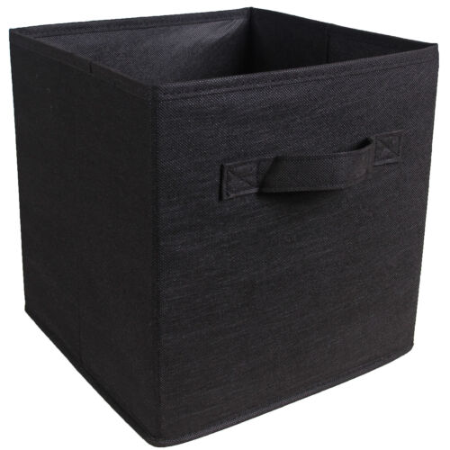 4XFoldable Storage Collapsible Box Home Clothes Organizer Fabric Cube Black UK