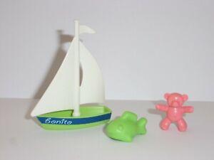 Playmobil Petit Bateau A Voile Voilier Avec Nounours Et Petit Poisson Ebay