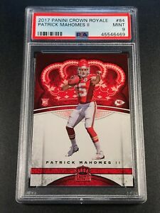 PATRICK-MAHOMES-2017-PANINI-CROWN-ROYALE-84-ROOKIE-RC-MINT-PSA-9-CHIEFS-NFL