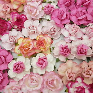 25 mulberry paper flowers pink wedding favour rose headpiece image is loading 25 mulberry paper flowers pink wedding favour rose mightylinksfo