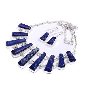 Dark-Blue-Sea-Sediment-Jasper-Handmade-Jewelry-Necklace-Set-16-039-039-To-18-039-039-SN962