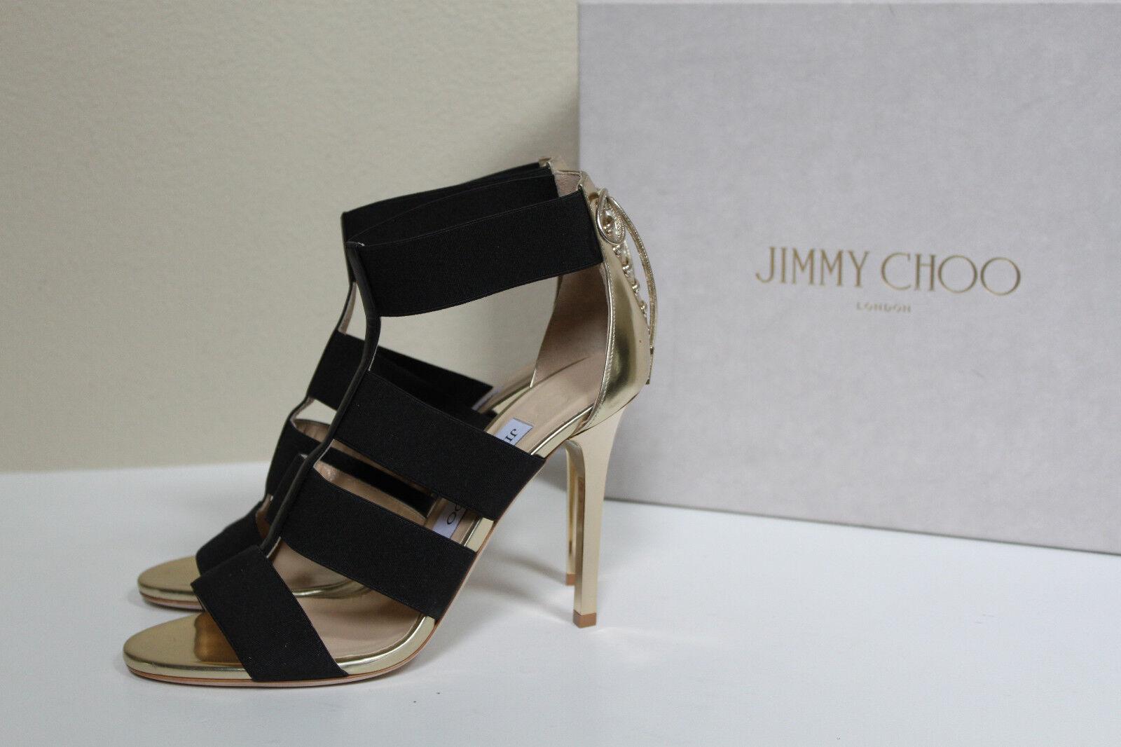 alto sconto New sz 7   37 Jimmy Choo Dario Dario Dario oro Leather & nero Elastic Ankle Sandal scarpe  marchi di stilisti economici
