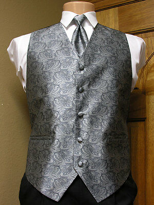 Vest Paisley Silver Gray Full Back Neck Tie Tuxedo Steampunk Wedding Prom Groom