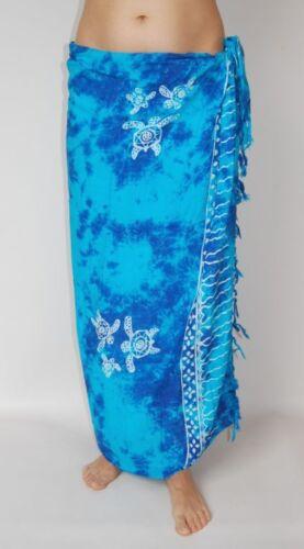 NEW UNISEX BLUE TIE DYE SARONG COVER UP WRAP PAREO TURTLE SEA PRINT BNIP sa268
