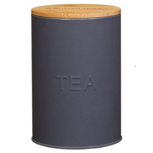 Russellhobb Oval Enamel Bread Bin /& Tea,Coffee,Sugar Storage Set With Bamboo Lid