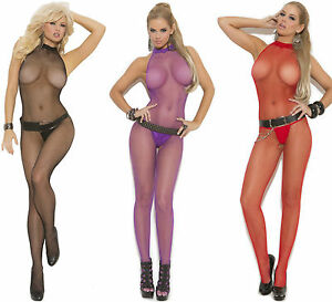 2c5301581 Image is loading SEAMLESS-FISHNET-HALTER-BODYSTOCKING-W-OPEN-CROTCH-O-S-