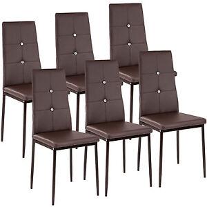 6x-Esszimmerstuhl-Set-Stuehle-Kuechenstuhl-Polsterstuhl-Stuhlgruppe-Stuhl-braun