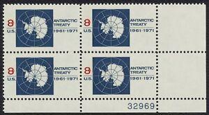 #1431 8c Antártida Tratado, Placa Bloque [32969 LR ] Nuevo Cualquier 4=