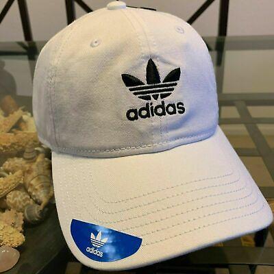 ADIDAS MENS BLACK EMBROIDERED LOGO STRAPBACK COTTON BASEBALL CAP HAT NWT
