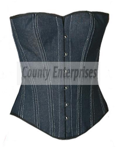 a overbust bustier acciaio blu jeans in spirale pieno jeans di Corsetto gotico di vittoriano overbust Iq8BXB