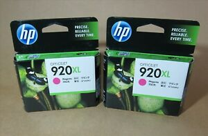 [0883*] TWO HP 920XL (CD973AA) MAGENTA INK ( RRP>$68 )