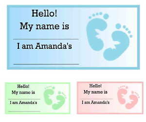 20 Baby Shower Favors Name Tags Baby Feet Ebay