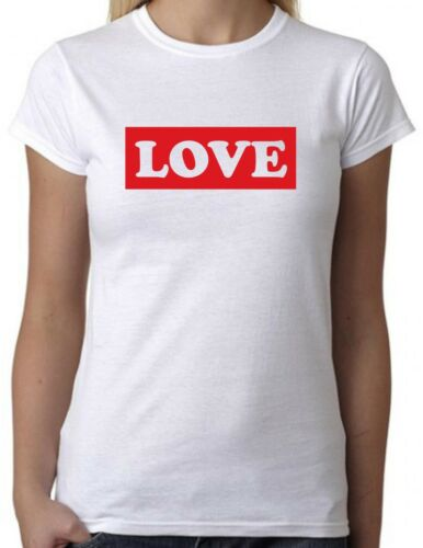 Cool Slogan Statement Tee LOVE White T-Shirt with Red Print