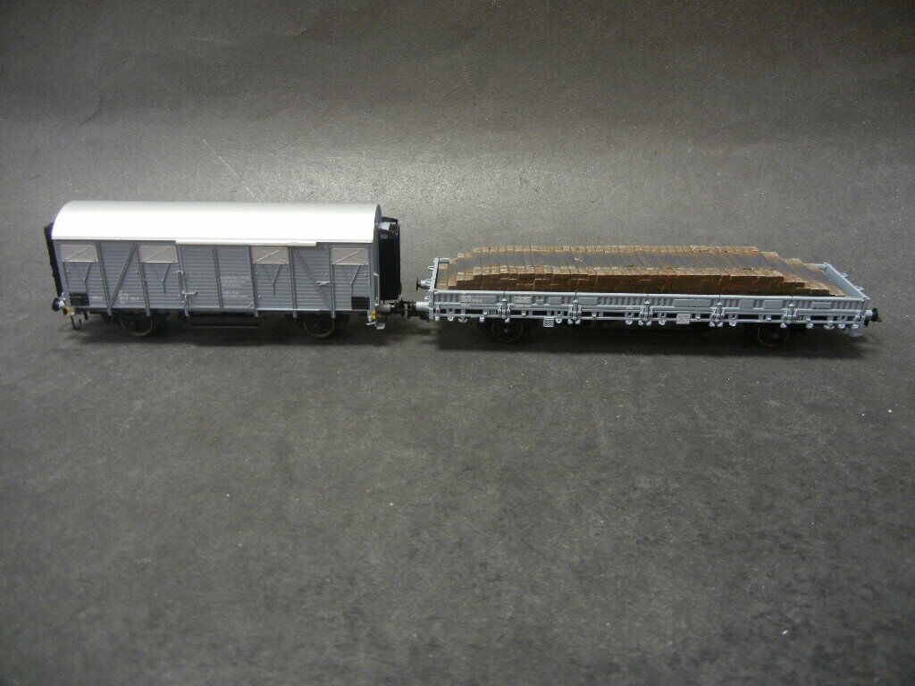 Rivarossi HR 6330 set 2 Service Cochero gris FS, Cochegado de mercancía nueva holzschwellen