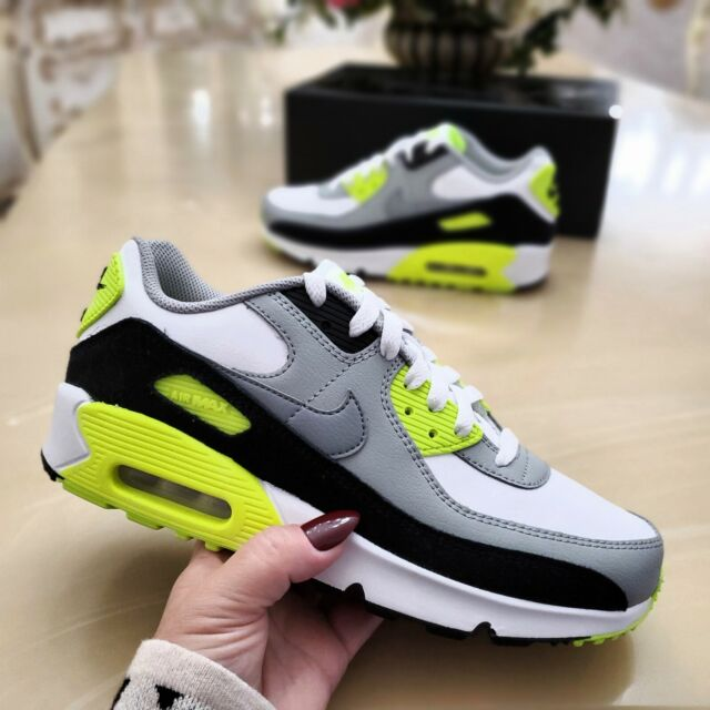 Nike Air Max 90 Ltr GS Size 7 Youth 7y Volt White Grey Black Shoe Cd6864-101