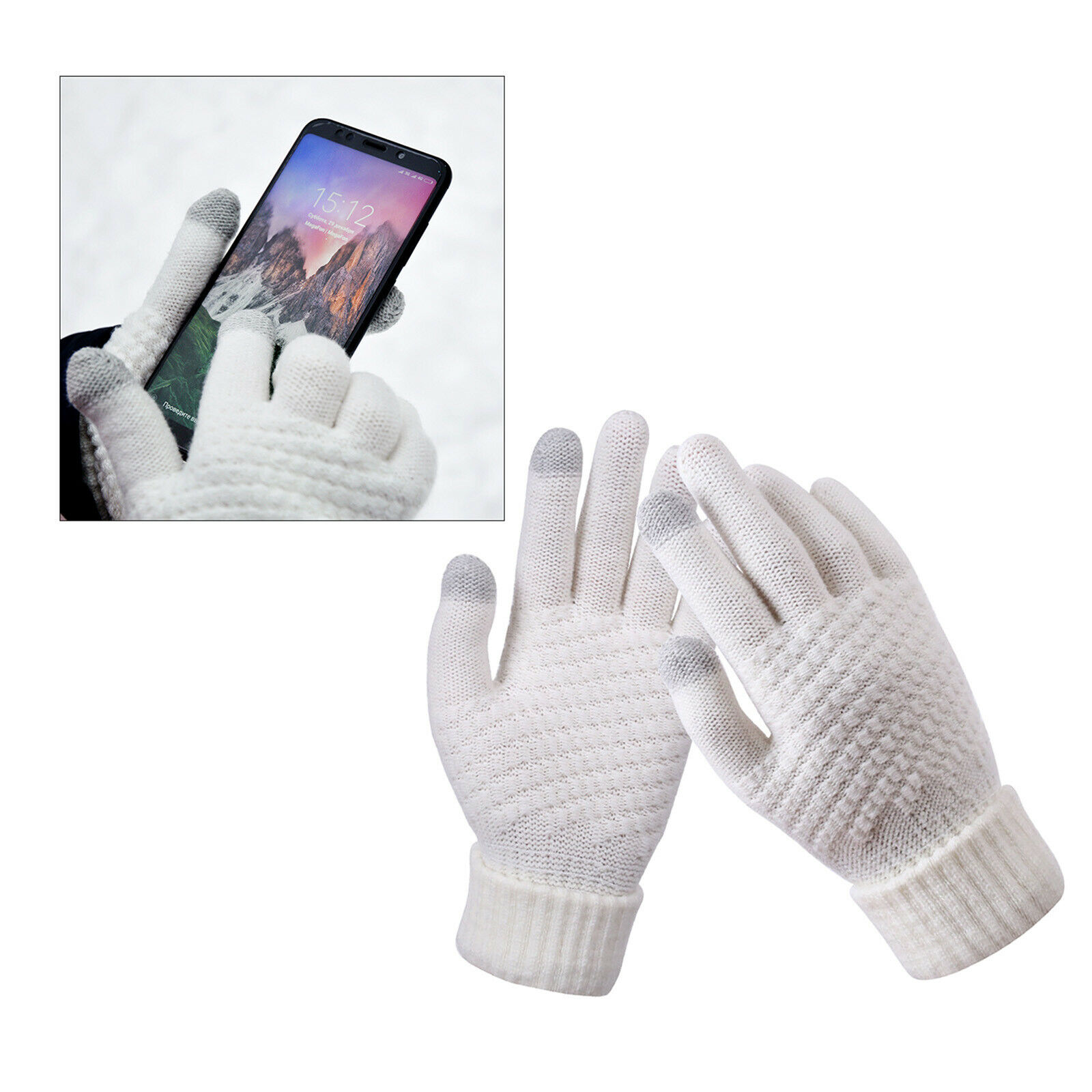 Men Women Touch Screen Winter Gloves Warm Thick Knit Thermal Insulated White