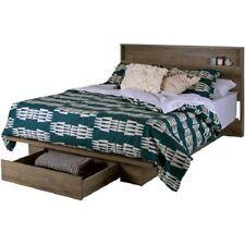 PLATFORM Bed Frame w/ Front Storage Drawer Shelf HEADBOARD Set FULL/QUEEN Size