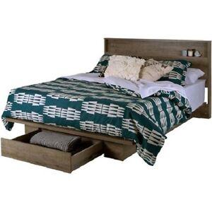 Platform Bed Frame W Front Storage Drawer Shelf Headboard Set Full