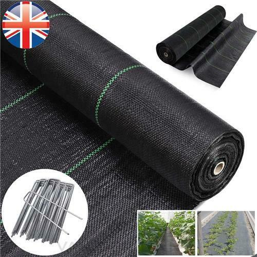 WEED CONTROL FABRIC WITH FREE PEGS 1 2 3 4 M WIDE 100GSM GROUND COVER GARDEN