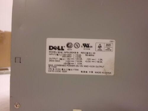 DELL 00N380 0N380 NPS-250KB B 250W POWER SUPPLY USED /& TESTED