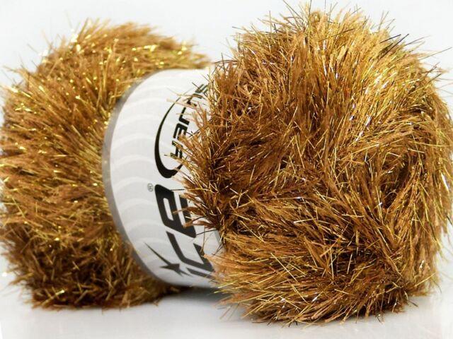 Large 100 Gram Camel Gold Eyelash Dazzle ICE Metallic Eyelash Yarn  35803-42258