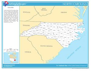 North Carolina State Counties Laminated Wall Map