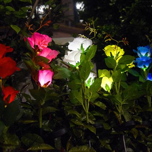 Solar Rose Flower Light Waterproof Garden Landscape Lamp Outdoor Lawn Lamp Home