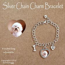 Bichon Frise Bracelet Jewelry Sterling Silver Handmade Dog Bracelet BF9-B
