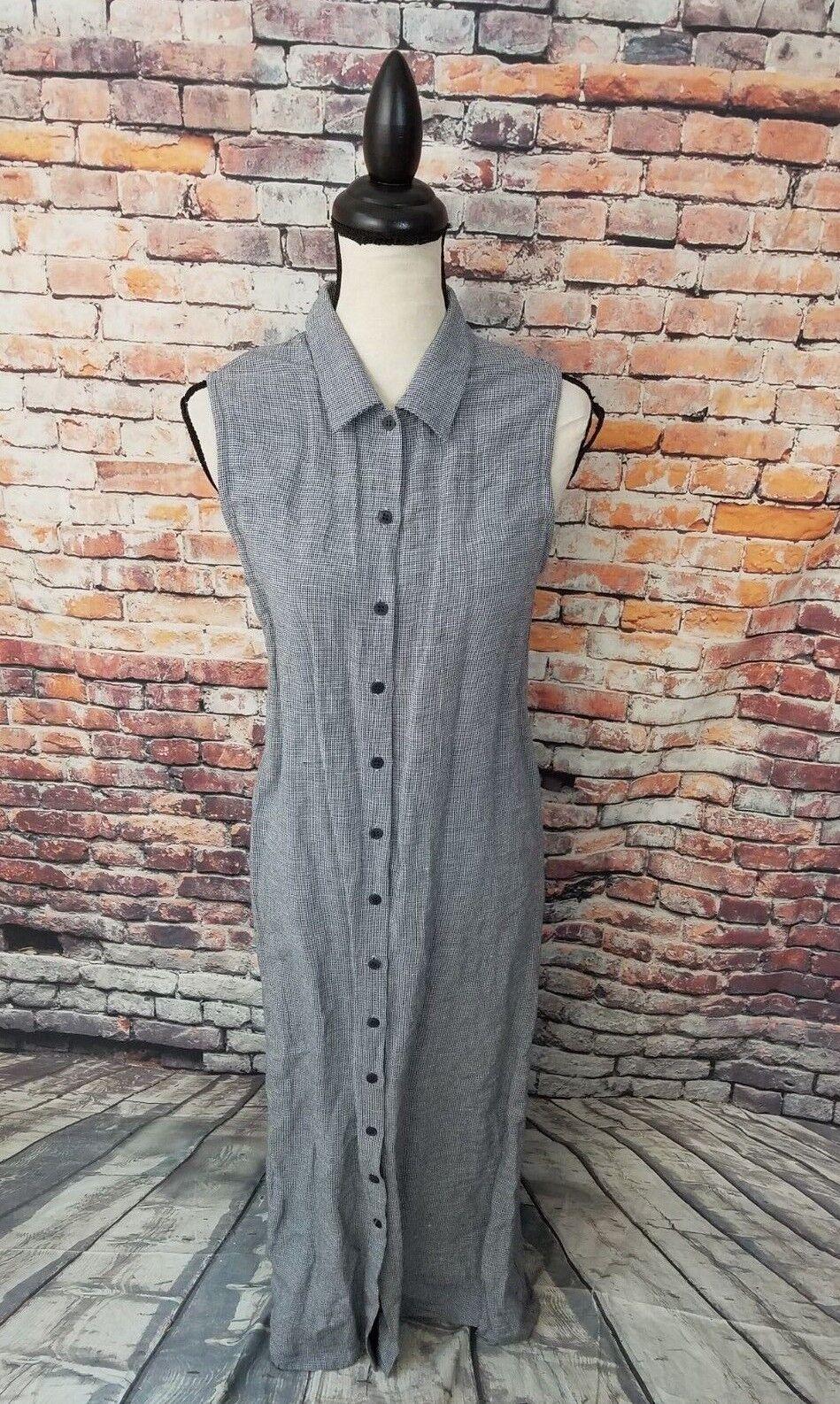 VTG Eileen Fisher Sleeveless Grey Button Up LINEN HOUNDSTOOTH Shirt Dress Sz S