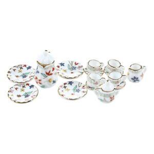 15-Piece-Miniature-Dollhouse-dinnerware-porcelain-tea-set-tableware-Cup-pla-Q7N1