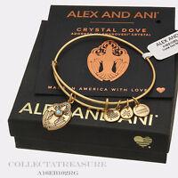 Authentic Alex And Ani Crystal Dove Rafaelian Gold Charm Bangle