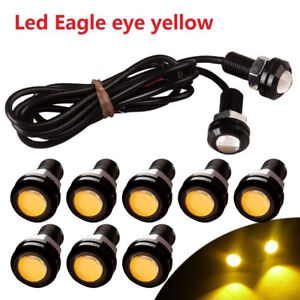 10x-Yellow-9W-LED-Eagle-Eye-Car-DRL-Daytime-Running-Turn-Signal-Light-18MM-Auto