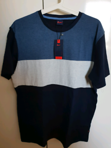 BRAND-NEW-Reph-COOL-BLUE-Tricolour-Striped-T-Shirt-SIZE-M