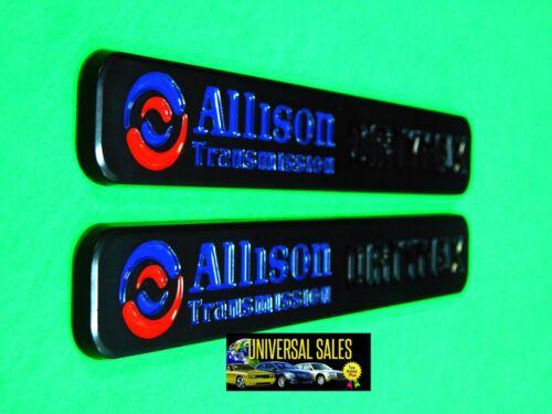 """PAIR BLACK MATTE ALLISON TRANSMISSION DURAMAX EMBLEM BADGES HOOD NEW 7 3//8/"""""""
