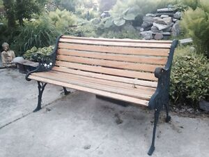 Cast iron and wood garden bench vintage 50 wide ebay - Wood and iron garden bench ...
