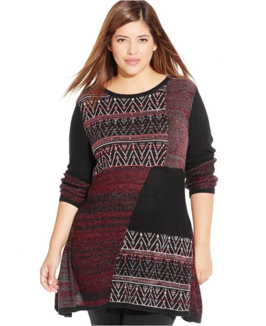Style & Co. Plus Size Pattern-Blocked Tunic Sweater Black Red size 0X