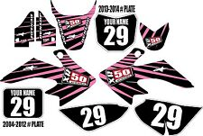 2004-2016 HONDA CRF 50 Graphics Kit Custom Number Plates Pink/Blk Lines XR50.com