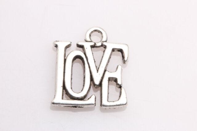 Lots 30 PCS Tibetan Silver Jewelry Crafts LOVE Charms Pendants 15mm*13mm ZB12