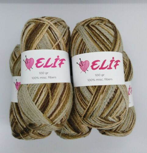UK Stockist Elif Yarn Knitting Crochet Wool  500g 4Ply Grey//Brown//Peach New