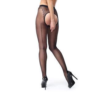 79bc152892121 Miss O Seamed Open Gusset Gloss Pantyhose. Black. 20% Elastane ...