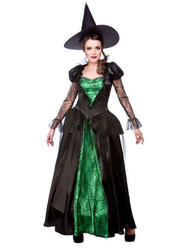 Ladies Emerald Witch Queen Sorceress Halloween Fancy Dress Costume UK Sizes 6-20