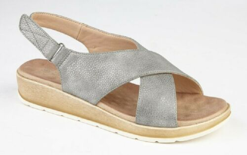 CIPRIATA /'FLORA/' L 011 Crossover Touch Fasten Summer Sandals Pewter