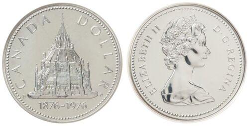 BU UNC Commemorative Dollar Canada Silver Coin 1976 Library of Parliament