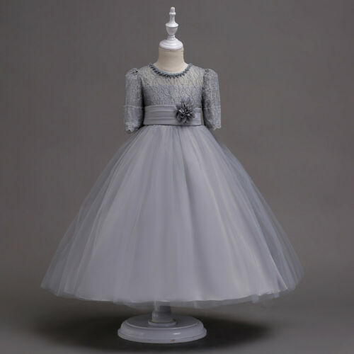 Kids Flower Girls Princess Lace Dress Short Sleeve Party Pageant Wedding Dresses