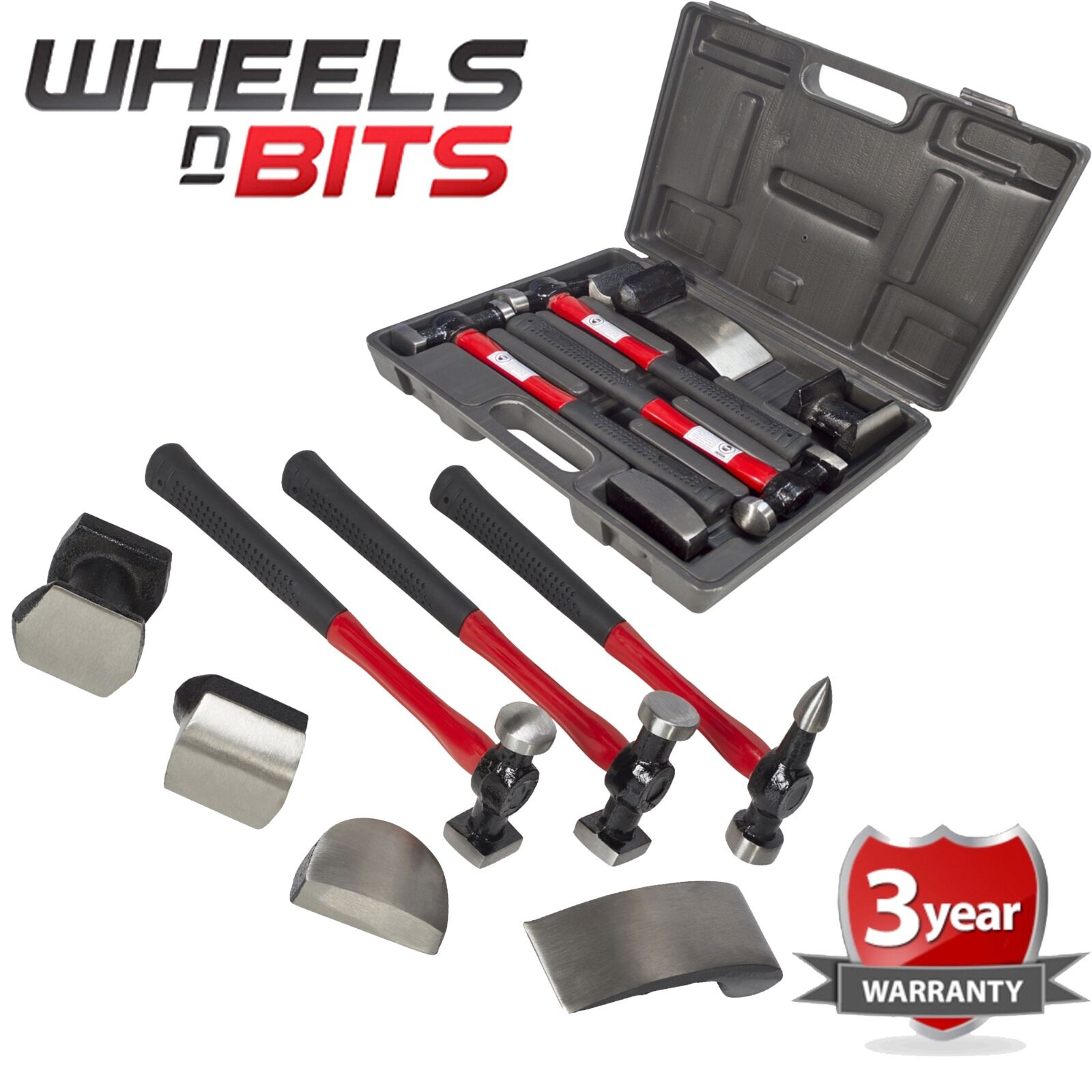 PRO 7PC CAR AUTO BODY PANEL REPAIR TOOL KIT WITH FIBRE BODY BEATING HAMMERS