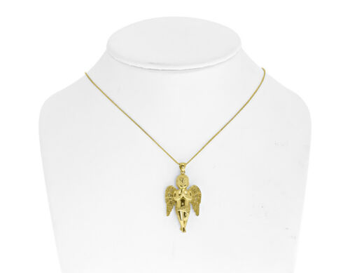 "Or Jaune Finition Canary Round Diamond Praying angel 1.4/"" Charm Pendentif 0.40 ct"
