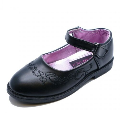 Girls Black Faux Leather Embroidered School Shoes UK Kid Size 12,13 UK 1 /& 2