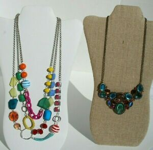 Vintage Multi Color Chunky Glass Beads Crystal Necklaces