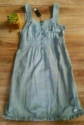 Dc Carlyle Sundress Girls M 12 Empire Waist Nwt$46 Blue Plaid 100%cotton